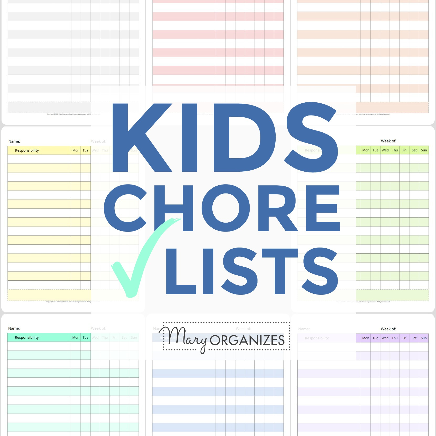 Kids Chore Check Lists -s