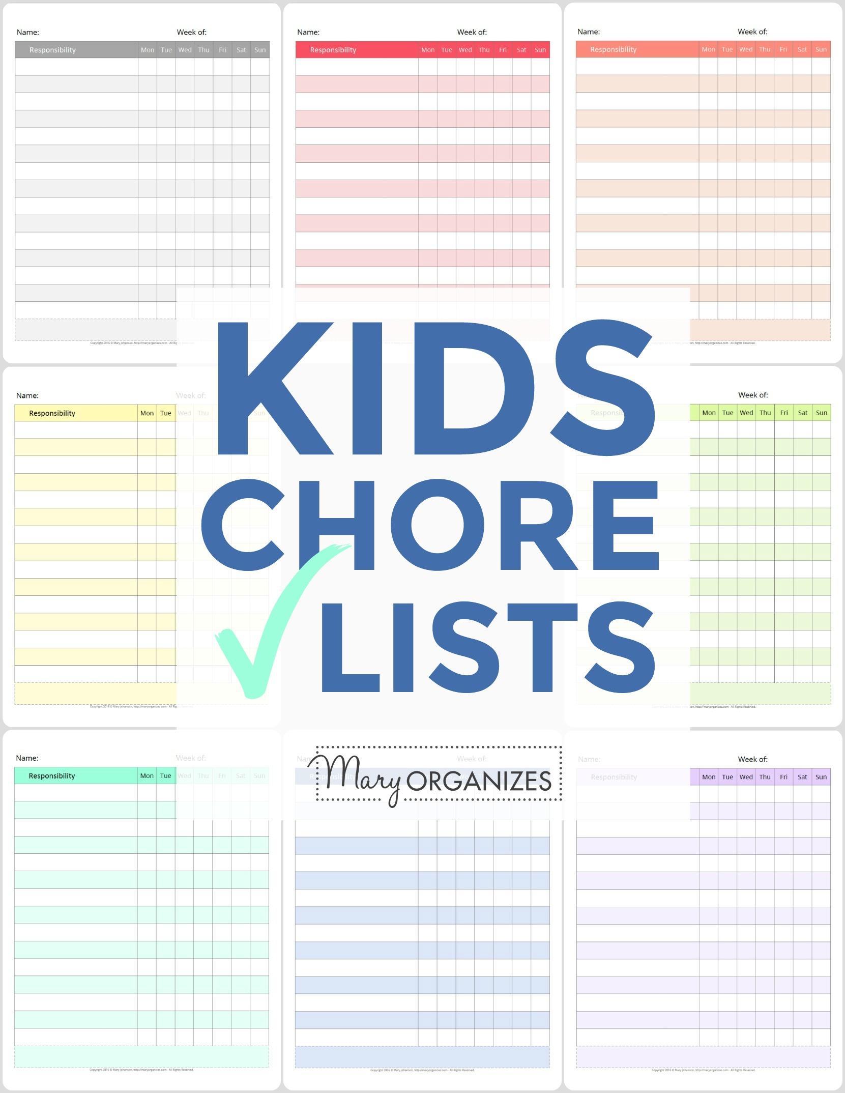 Kids Chore Check Lists -v