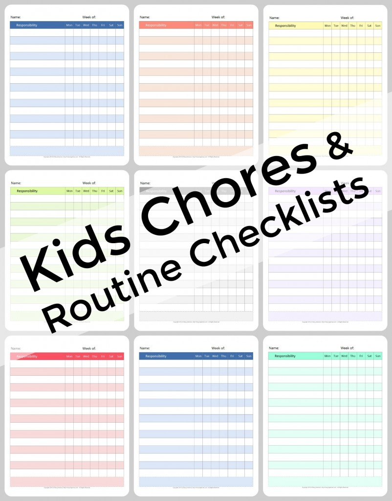 Kids Chores and Routine Checklists