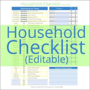 Household Checklist Editable - shop