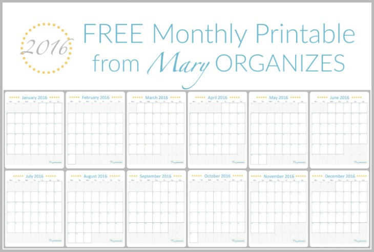 FREE Monthly Calendar Printable - Mary Organizes -h