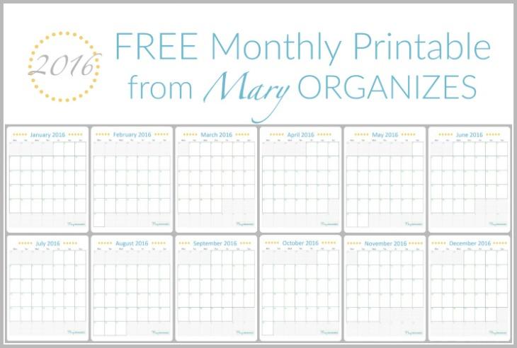FREE Monthly Calendar Printable - Mary Organizes -h