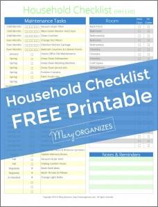 Household Checklist FREE Printable - HH List -v