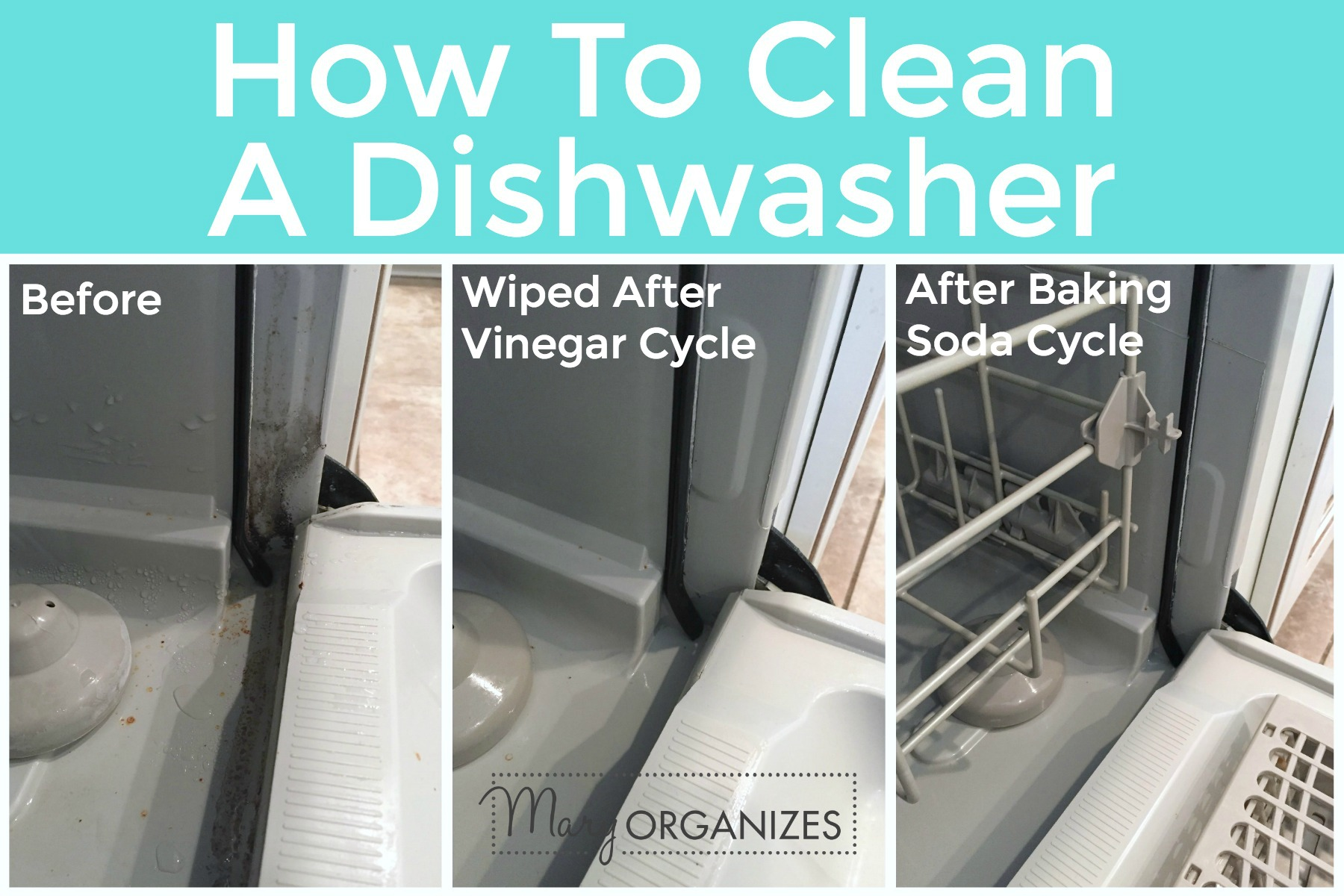 How To Clean A Dishwasher - Comparing corner after different steps -h