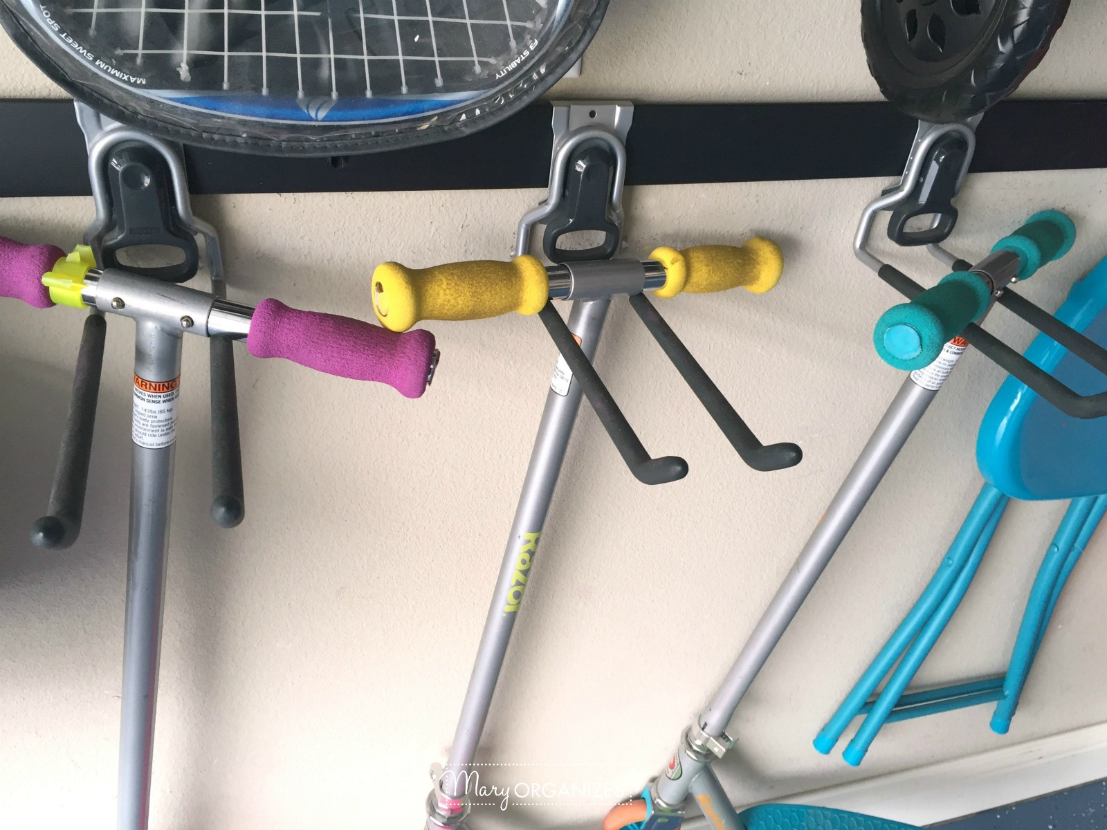 Garage Organizing - How to hang bikes scooters ripsticks balls and more -g4