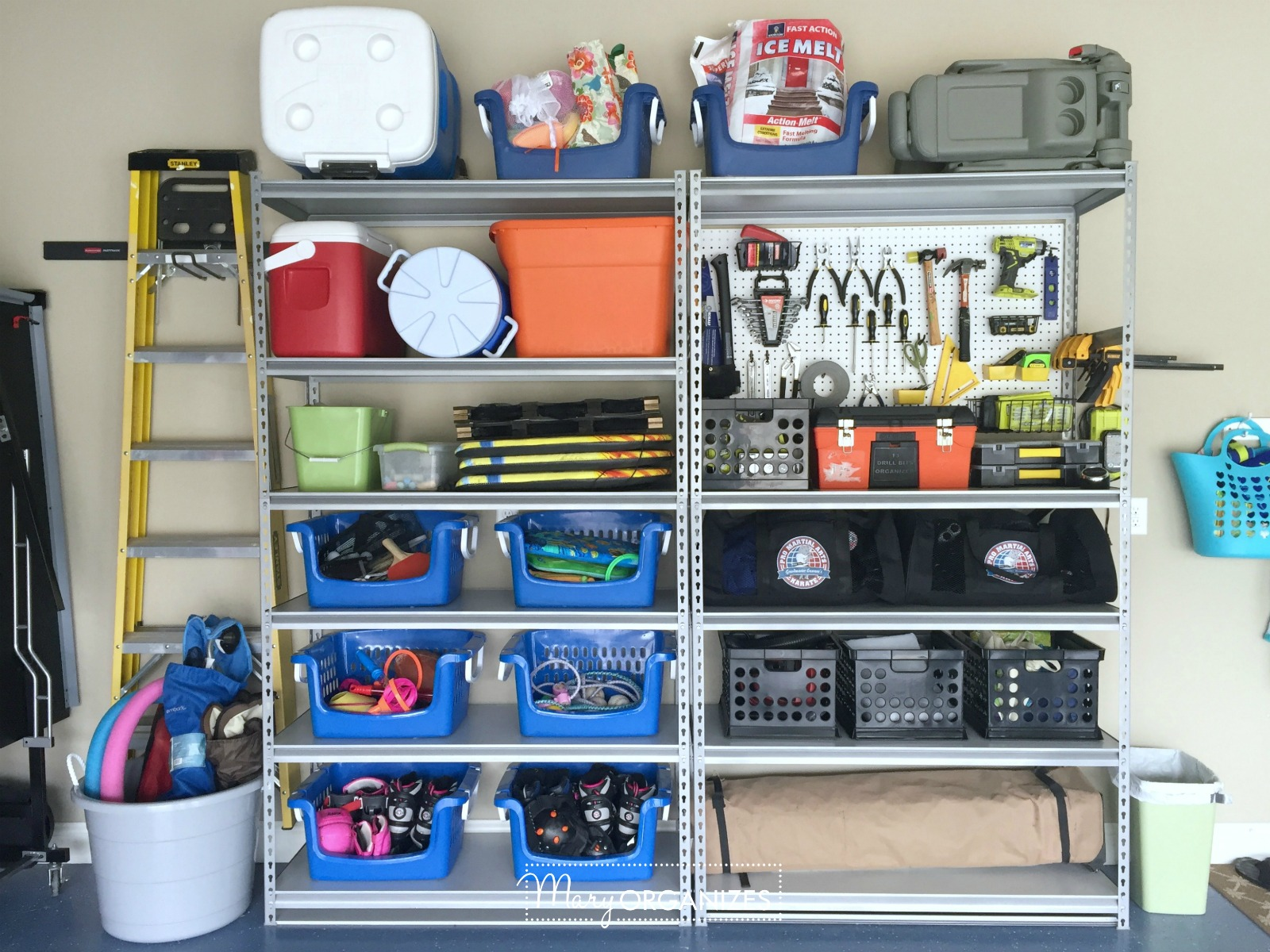 Pegboard Hack and Organizing Garage Shelves 7