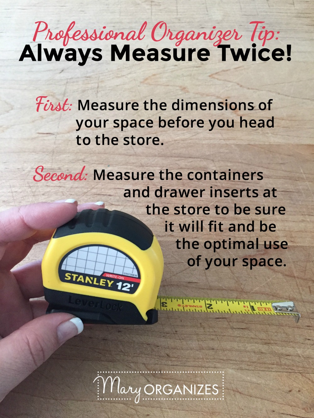 Professional Organizer Tip - Always Measure Twice -v