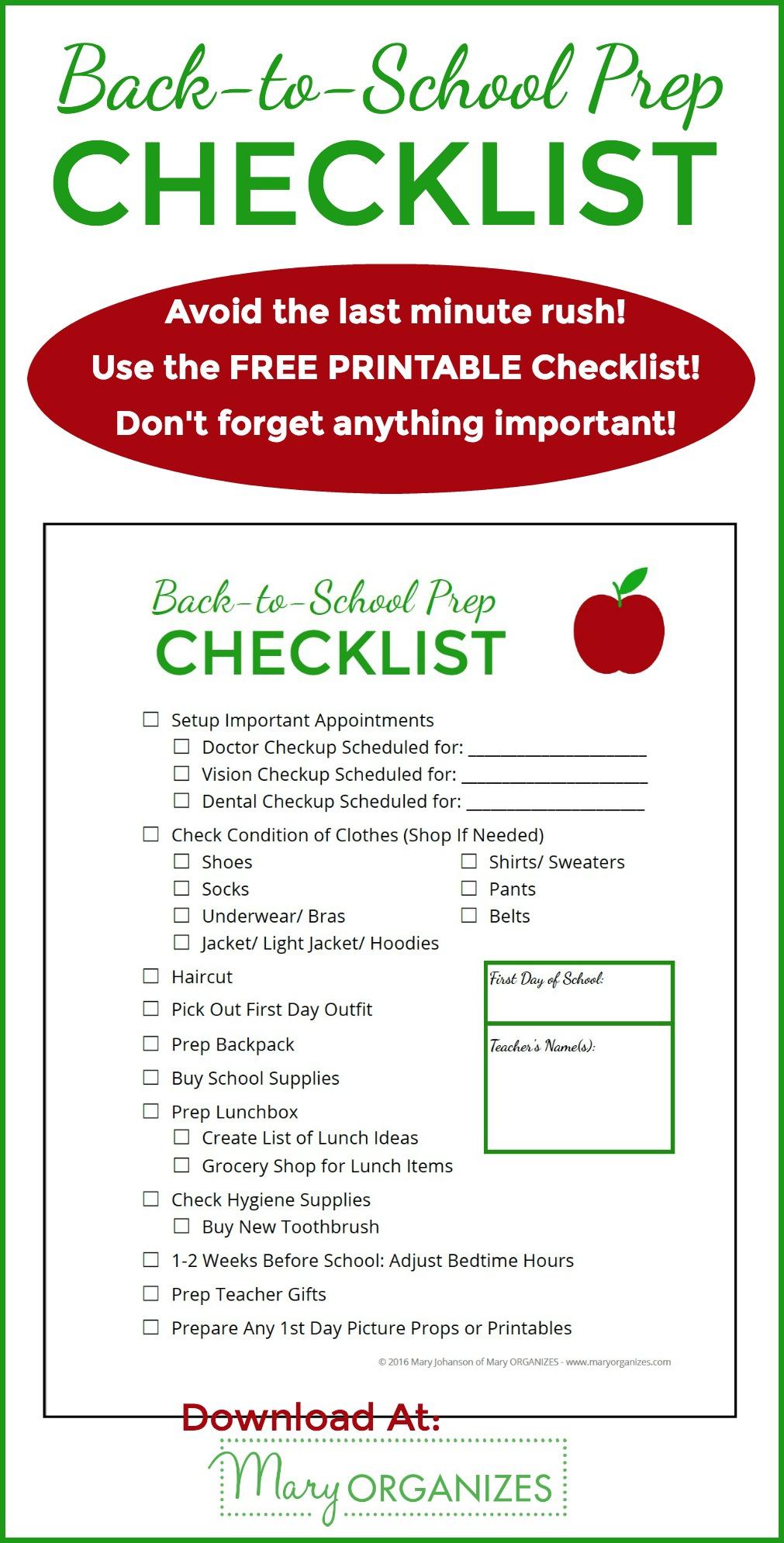 Back to School Prep Checklist FREE Printable -v