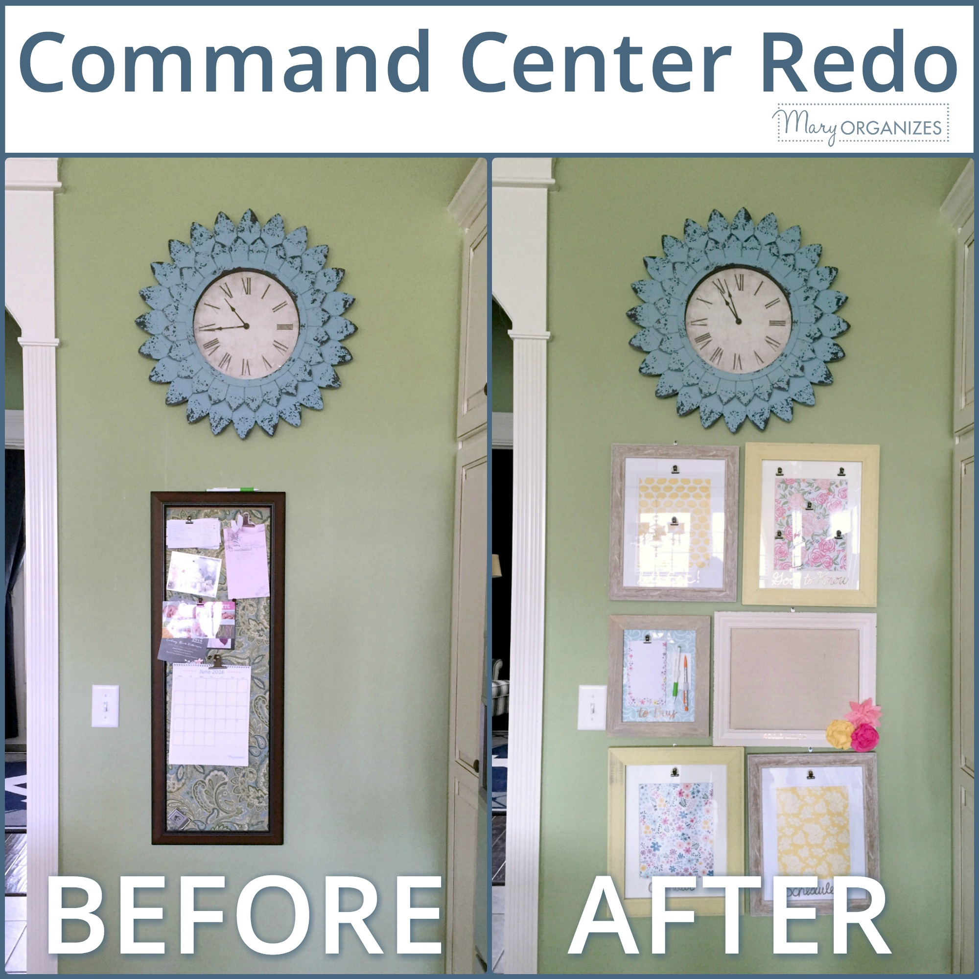 Mary ORGANIZES Command Center Before and After